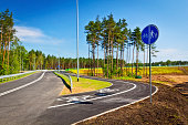 New road and bicycle lane under construction