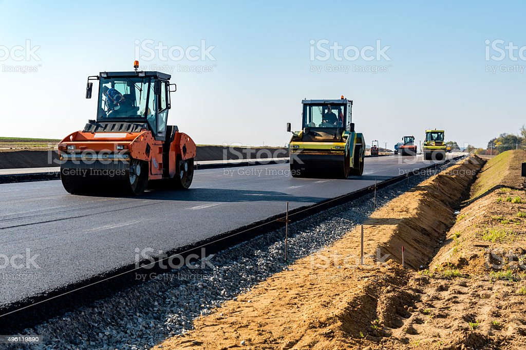 New road construction stock photo