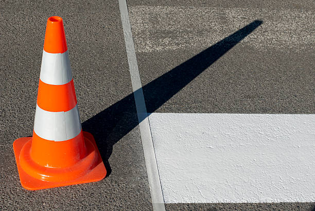 New road crossing lines stock photo