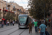 Jerusalem, Israel - December 2, 2013: New rolling stock of Jerusalem tramway on Yafo Road.