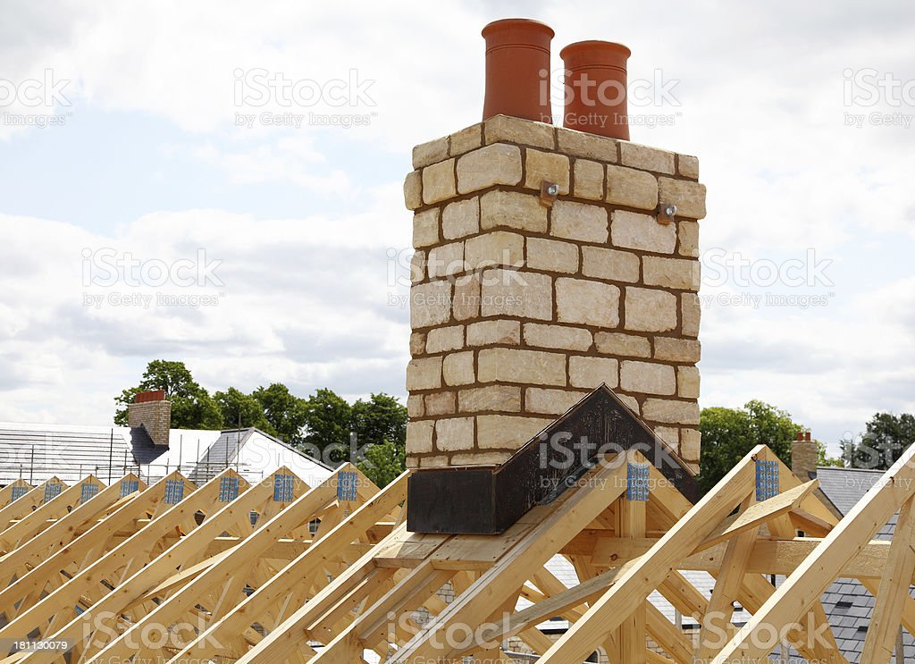 new roof and chimney stock photo