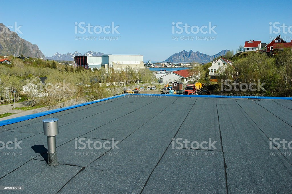 new roof construction at seaside stock photo