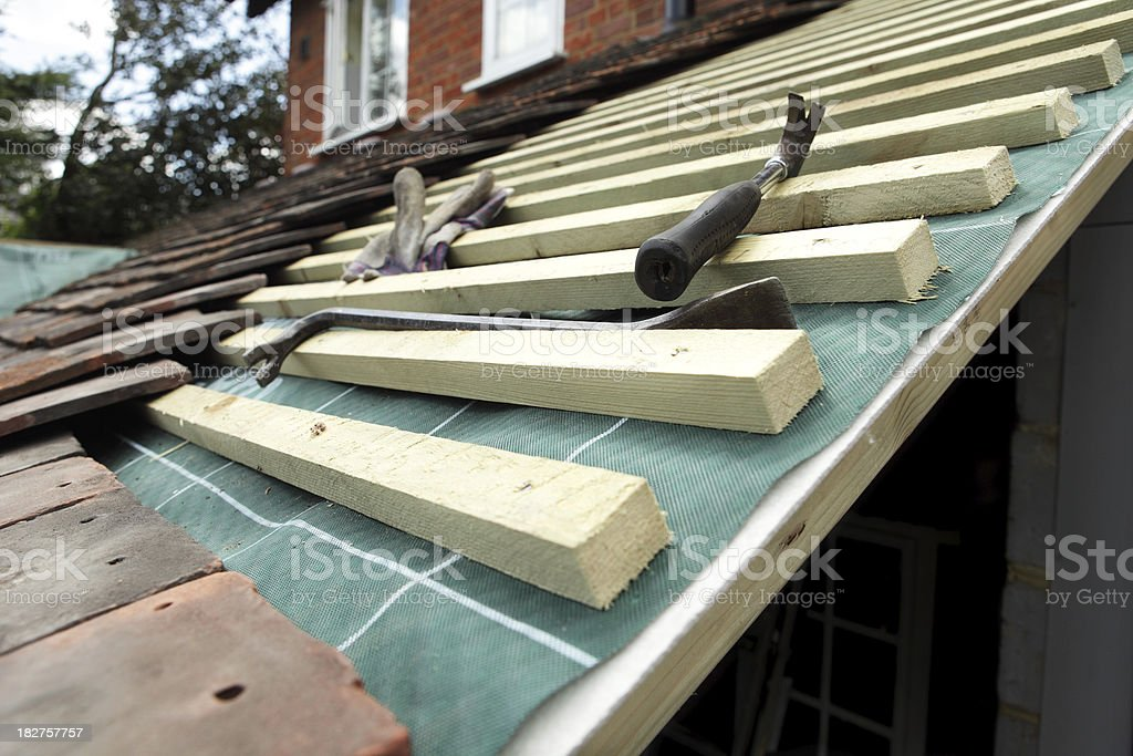 New  Roof Construction, Tiling royalty-free stock photo