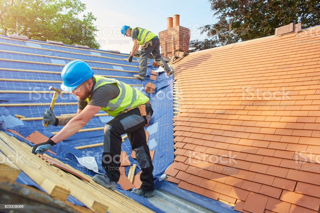 new roof installation stock photo