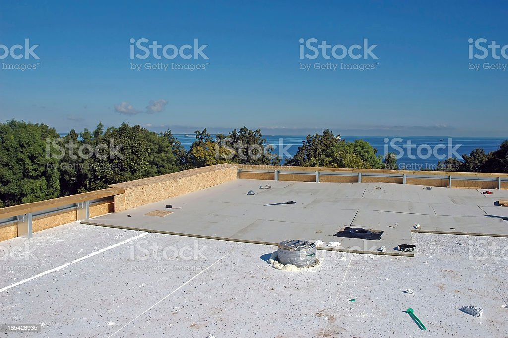 New roof under construction at seaside stock photo