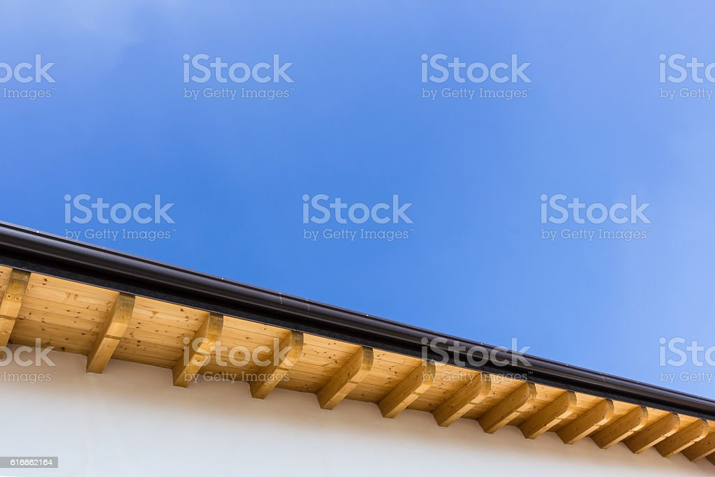 New roof with gutter stock photo