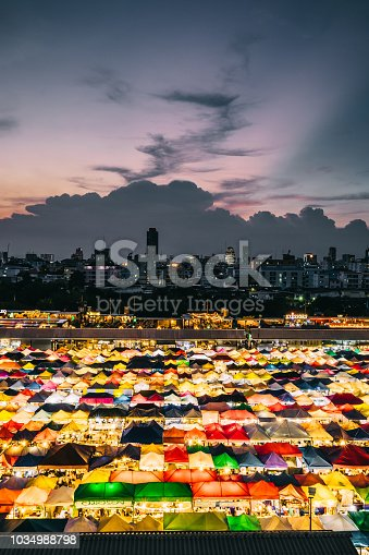 night market with colorful tents in Bangkok,Thailand