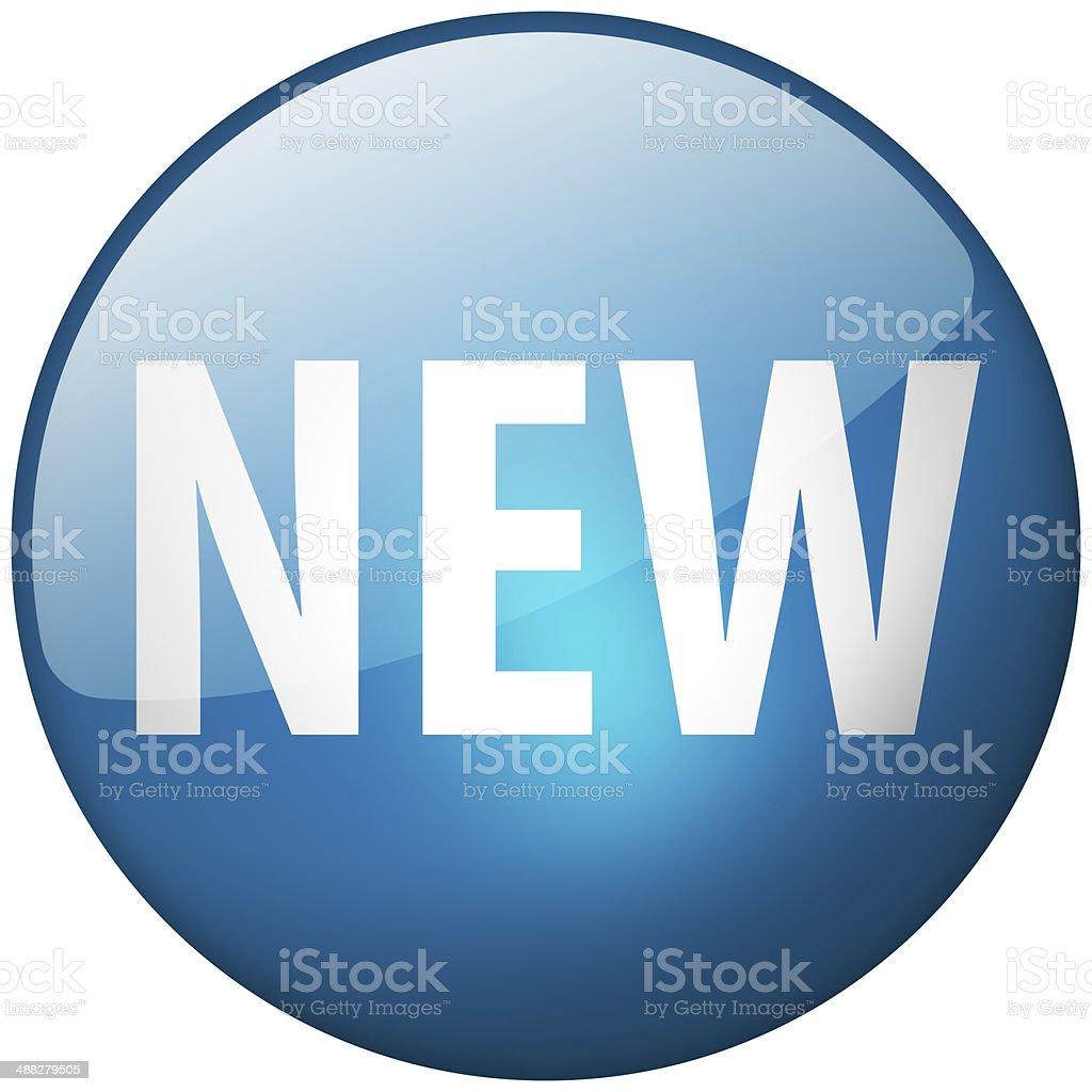 New Round Blue Glass Shiny Button stock photo