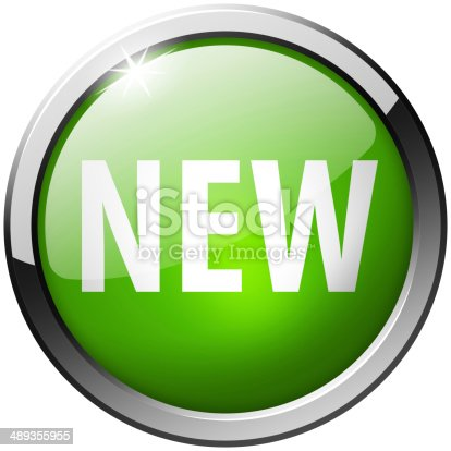 istock New Round Green Metal Shiny Button 489355955
