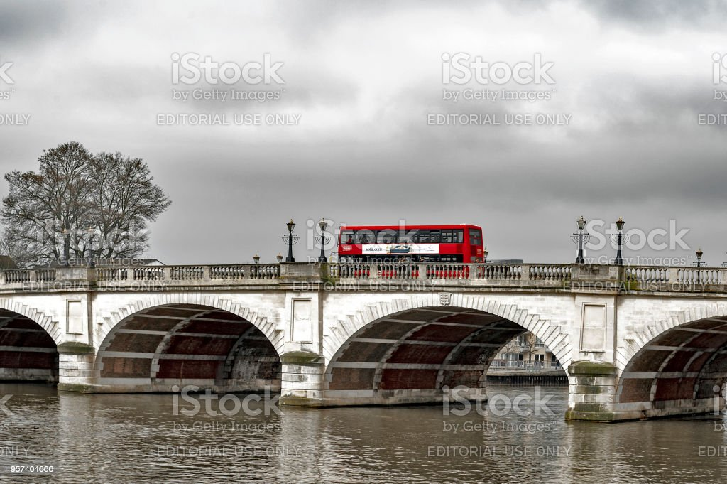 New Routemaster Double-decker bus crossing Kingston Bridge over the River Thames in Kingston, England stock photo