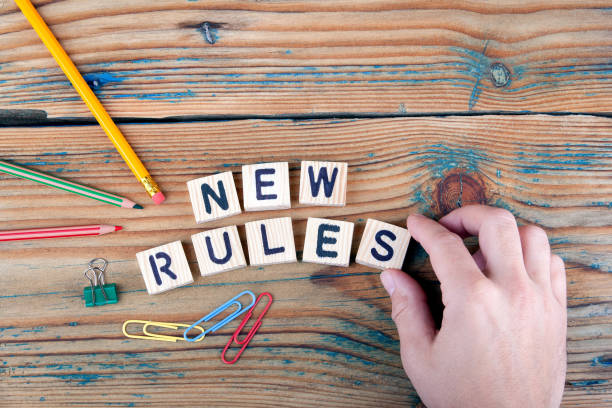 new rules. Wooden letters on the office desk stock photo