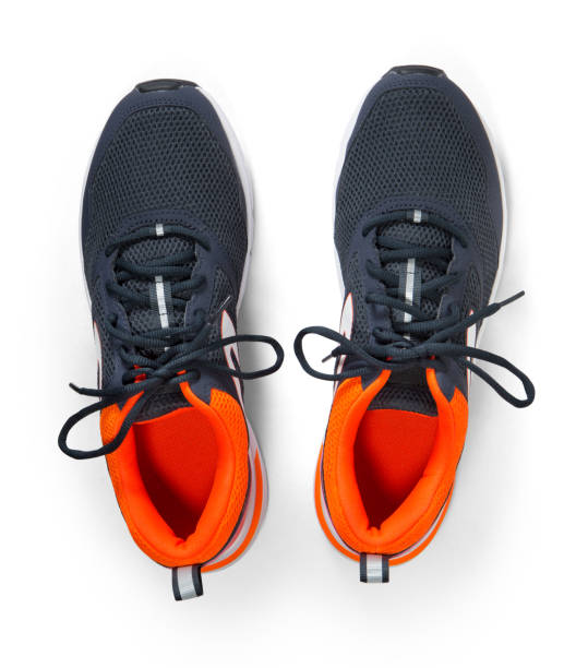 new running shoe isolated on white background with top angle - shoe stock photos and pictures