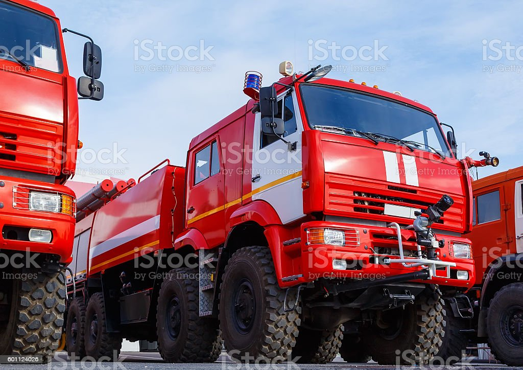 New Russian fire trucks are ready to fight with fire. - foto de stock