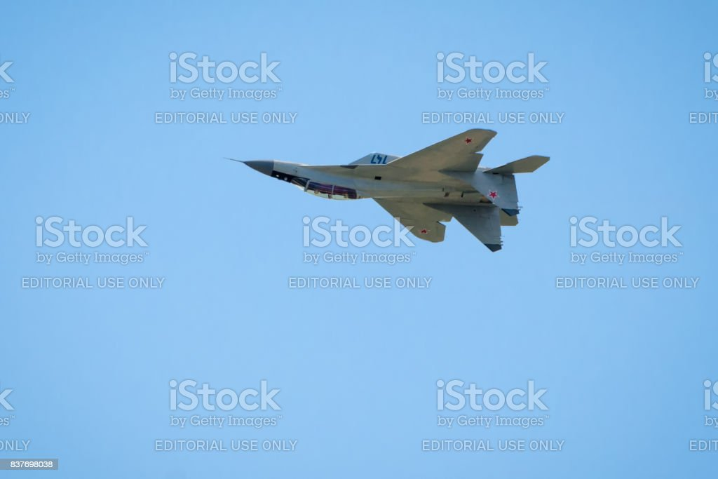 New Russian strike fighter MIG-29 flies upside down stock photo