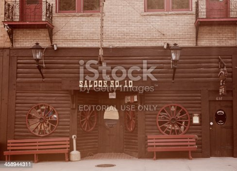 Deadwood, South Dakota, United States - March 9, 2012. The new Saloon No.10 on Main Street in Deadwood, South Dakota. The original Saloon No.10 was located across the street and was the bar in which Wild Bill Hickok lost his life to Jack McCall.