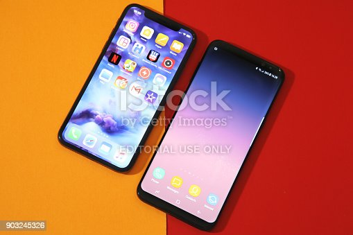 istock New Samsung S8 plus an Iphone X comparasion 903245326