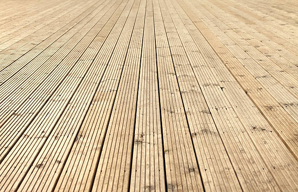 New sanded wooden garden decking stock photo