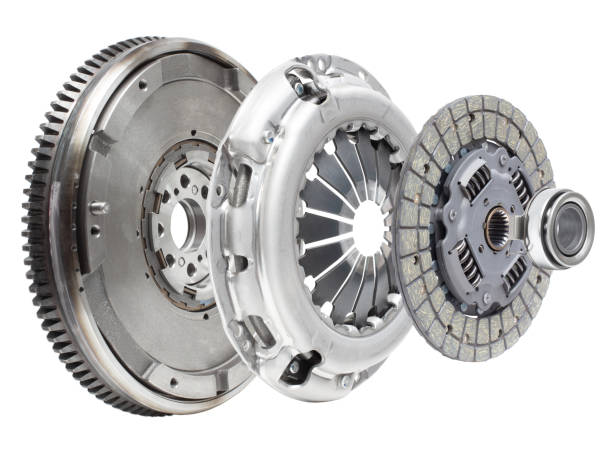 A new set of replacement automotive clutch on a white background. Disc and clutch basket with release bearing stock photo