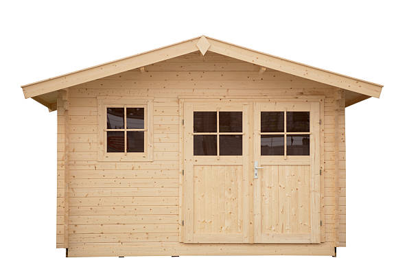 new shed isolated with clippping path - schuppen türen stock-fotos und bilder