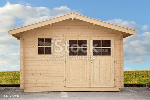 front view of a new shed isolated with clippping path