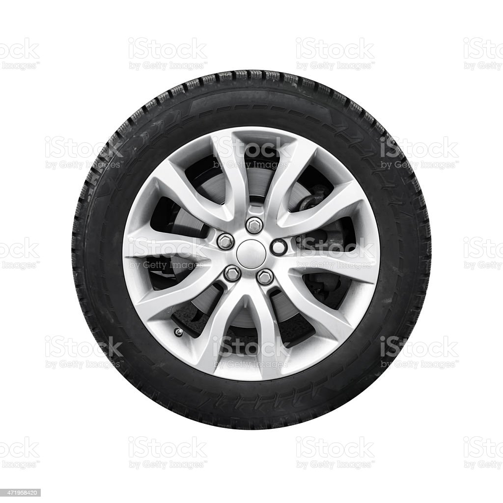 New shiny automotive wheel on light alloy disc isolated stock photo