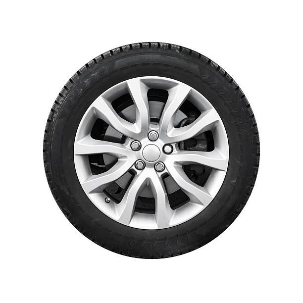 new shiny automotive wheel on light alloy disc isolated - autoband stockfoto's en -beelden