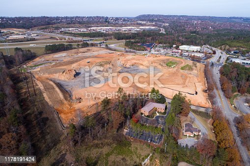 Earth work beginning for a new shopping center.