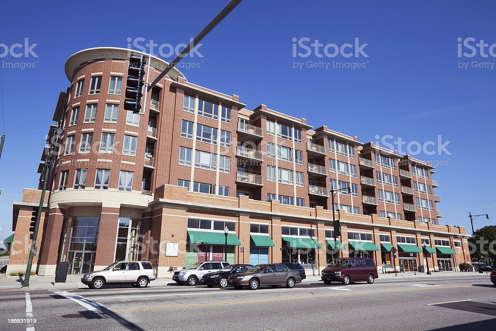 New Shops and Apartment Building in Forest Glen, Chicago stock photo