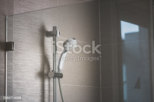 shower in bathroom through glass shower enclosure