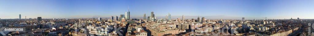 Neue Skyline von Mailand, Luftaufnahme von Brera. Der Diamond Tower und Wolkenkratzer, Torre Solaria, Unicredit Tower, Bezirk von Brera, Italien – Foto