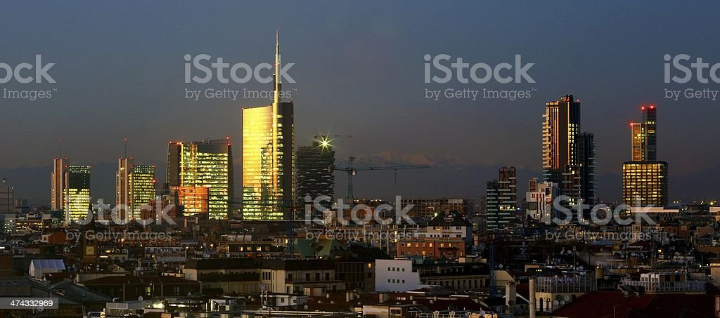 Skyline at dusk of recently built skyscrapers of Porta Nuova area....