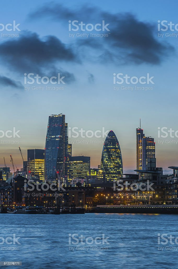New skyscrapers of the City of London at sunset 2014 stock photo