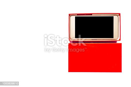 1161116588istockphoto New smartphone and box, gift package with modern mobile cell phone on white background 1053839510