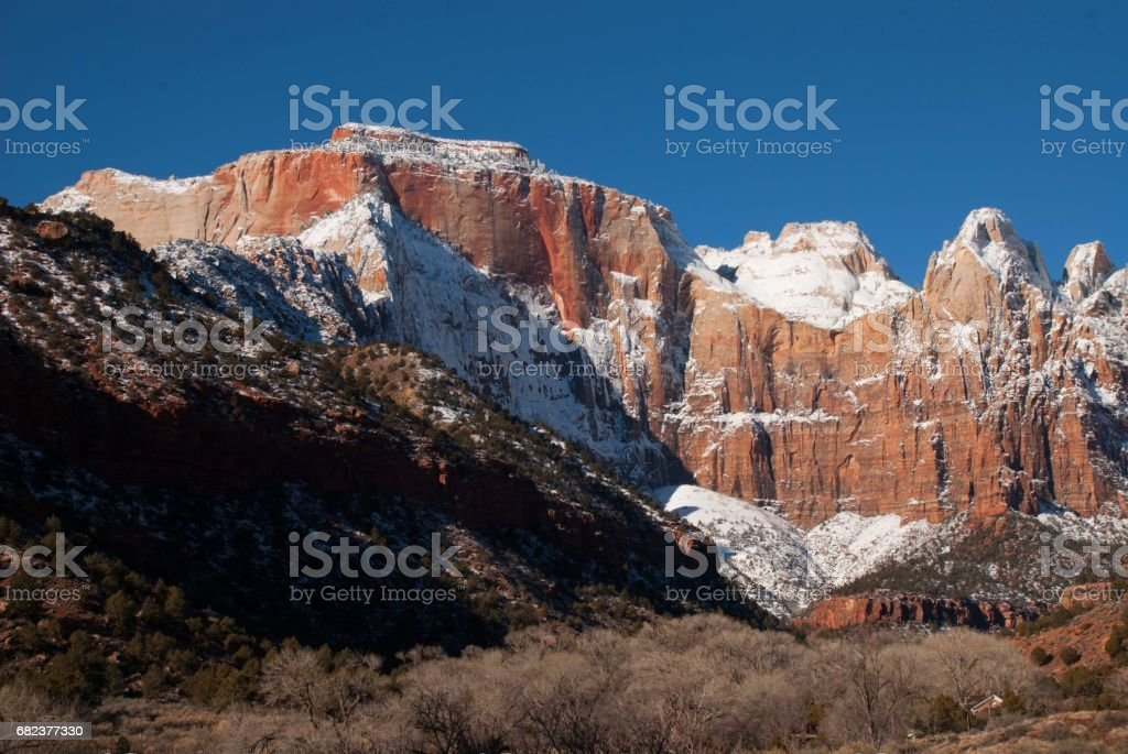 New snow on the Peaks of the Virgin and West Temple in winter in Zion National Park Utah royalty-free stock photo