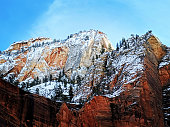 New snow on the Temple of Zinawava in Zion Canyon Zion National Park Utah