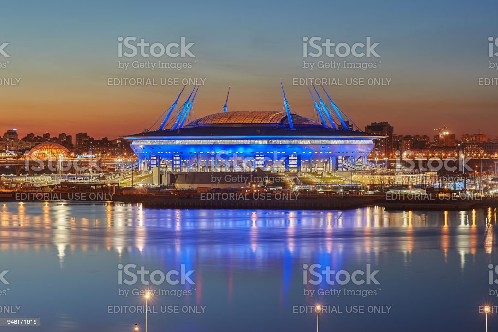 New soccer stadium on Krestovsky Island in St. Petersburg, Russia. stock photo
