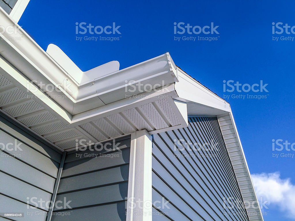 New soffit,gutters,vinyl siding stock photo