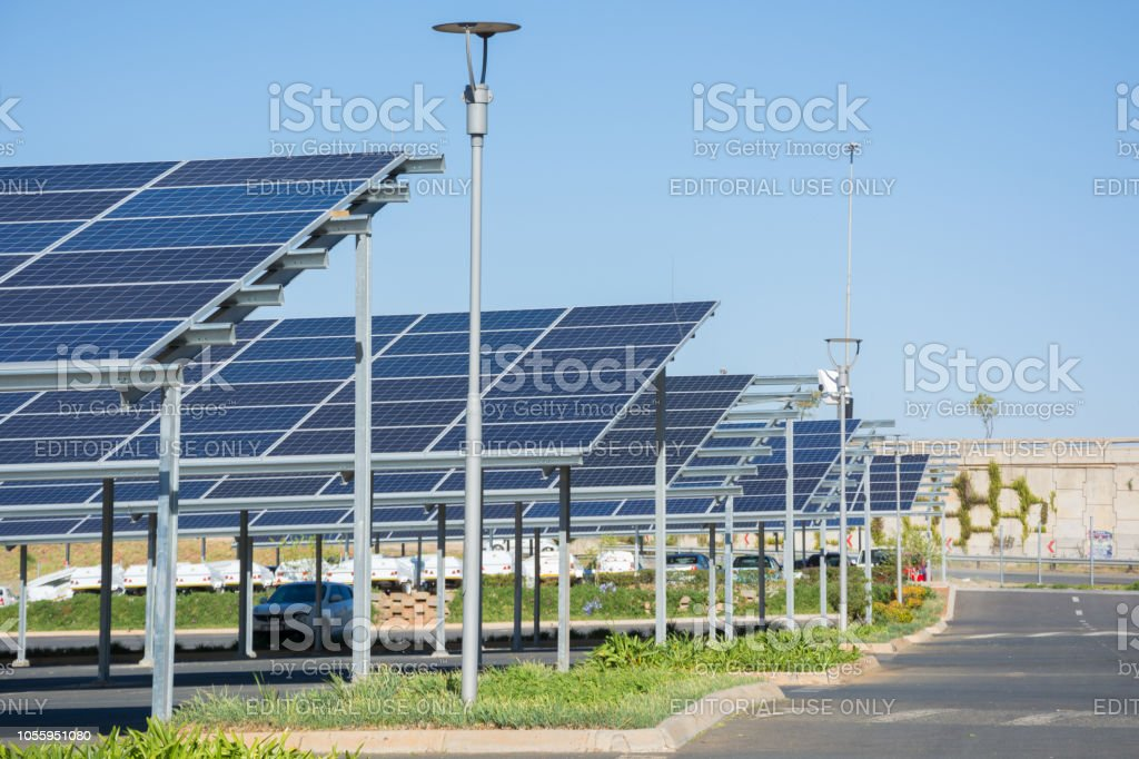 New Solar Panel Carports In The Parking Lot Of The Makro Store Stock