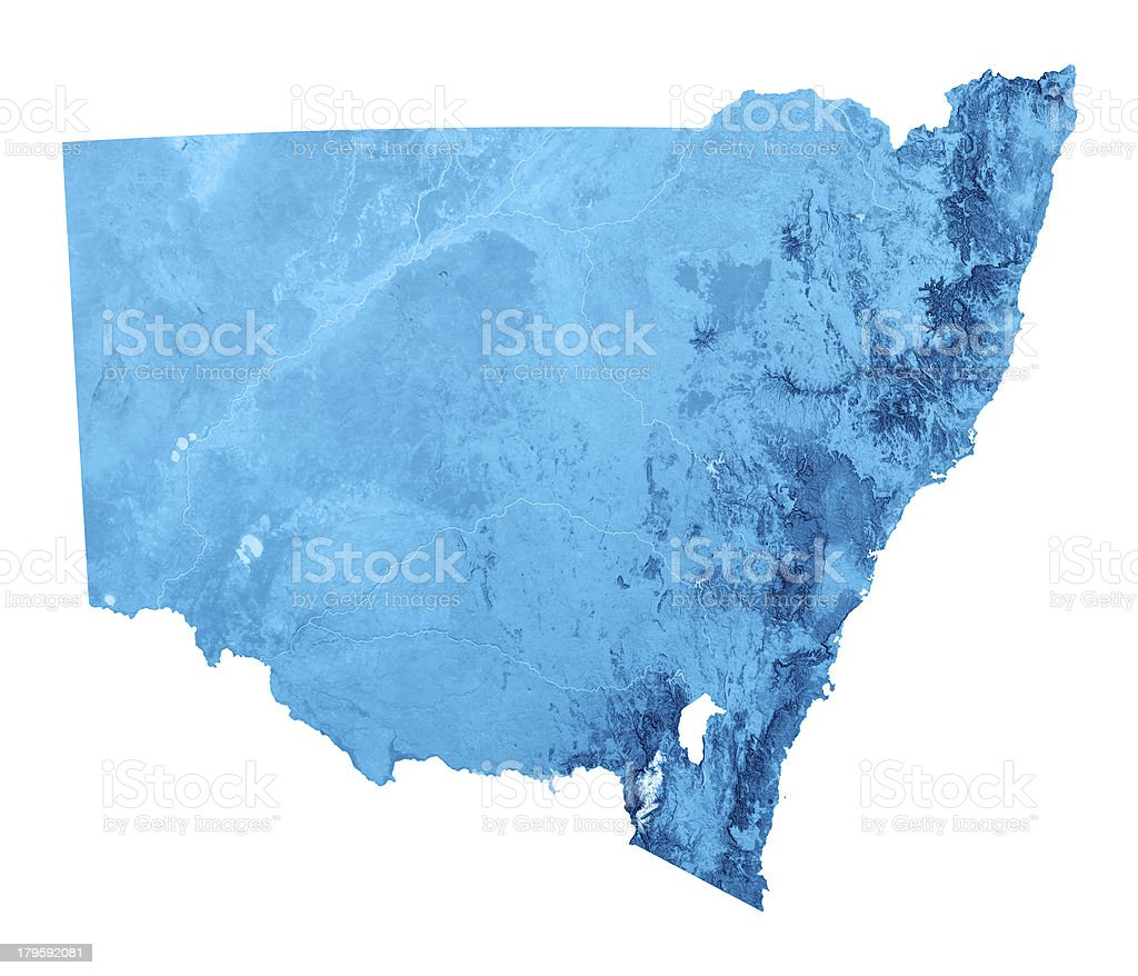 New South Wales Topographic Map Isolated stock photo