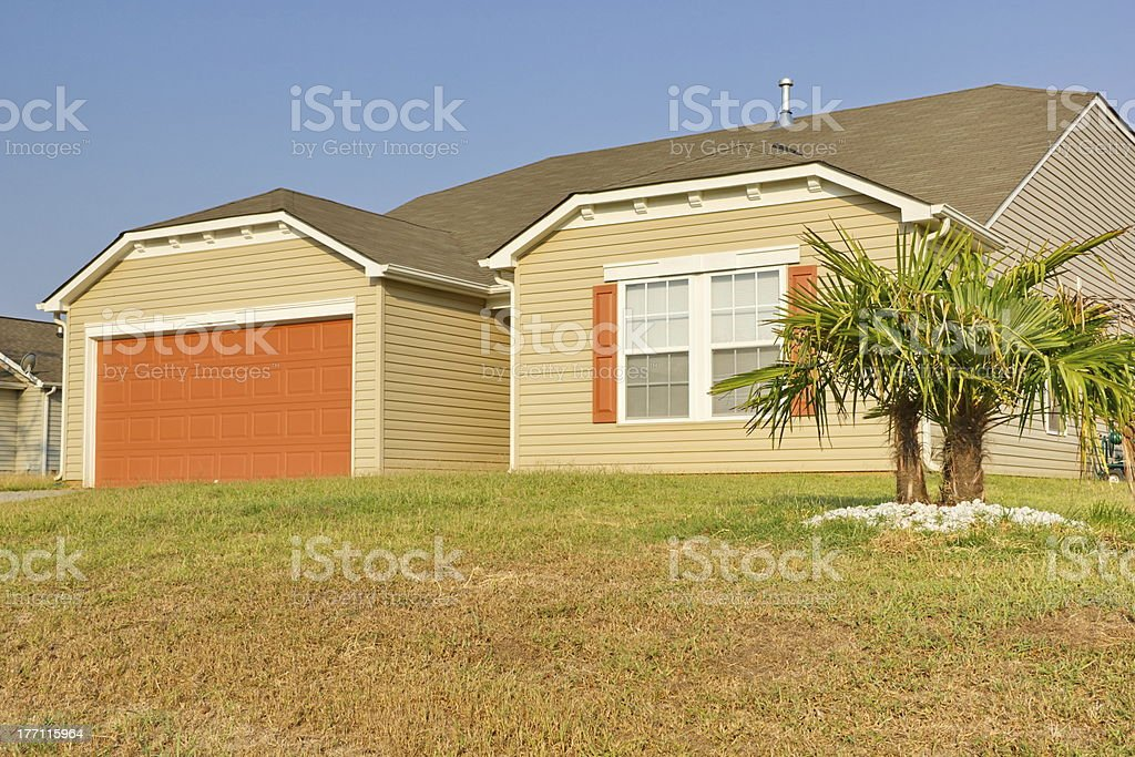 New Southern Middle Class Ranch Style Home stock photo