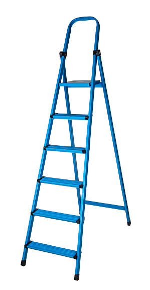 new staircase stepladder on a white isolated background