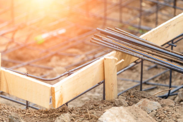 New Steel Rebar Framing Abstract At Construction Site stock photo