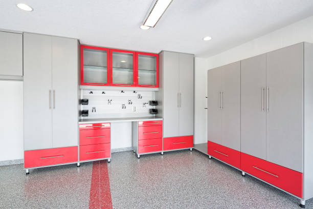 New storage cabinets and flooring in a garage stock photo