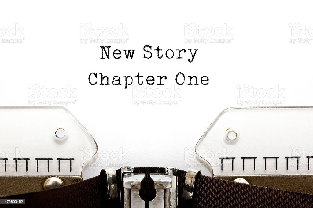 New Story Chapter One Typewriter stock photo