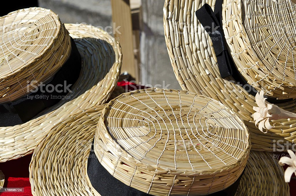 New Straw Hats for sale royalty-free stock photo