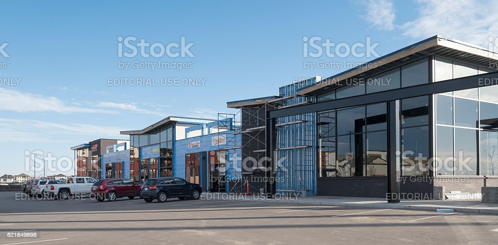 New Strip Mall Under Construction in Saskatoon stock photo