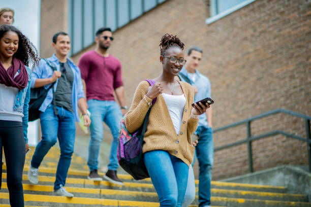 New students on a college campus stock photo