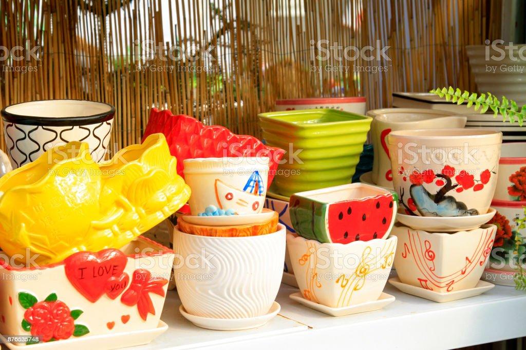 New style flower pot, closeup of photo stock photo