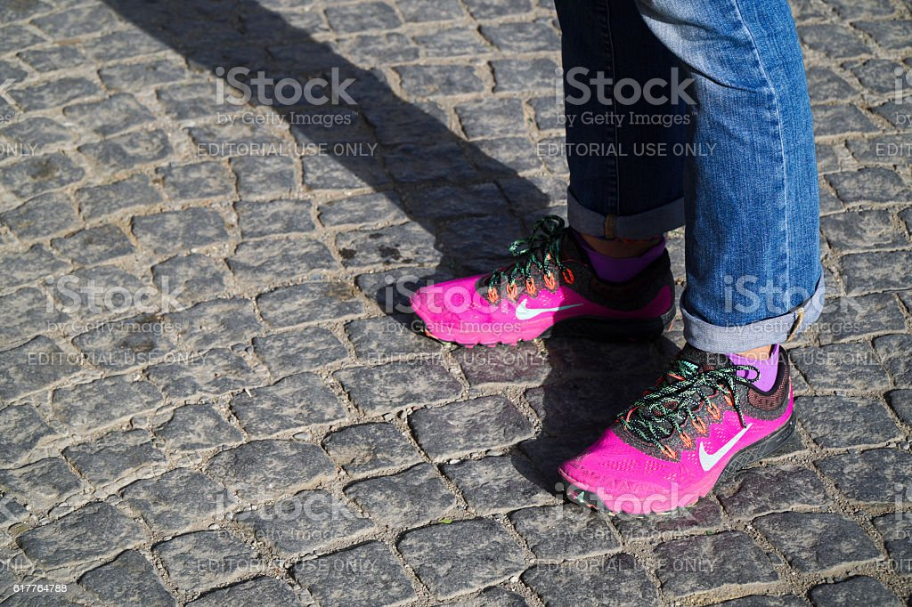 New Style Pink Nike Shoes at Street stock photo
