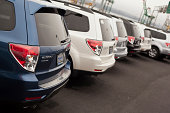 istock New Subaru SUVs in a row 458729119